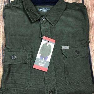 Eddie Bauer Cross Cut Cord Shirt Green Mens M